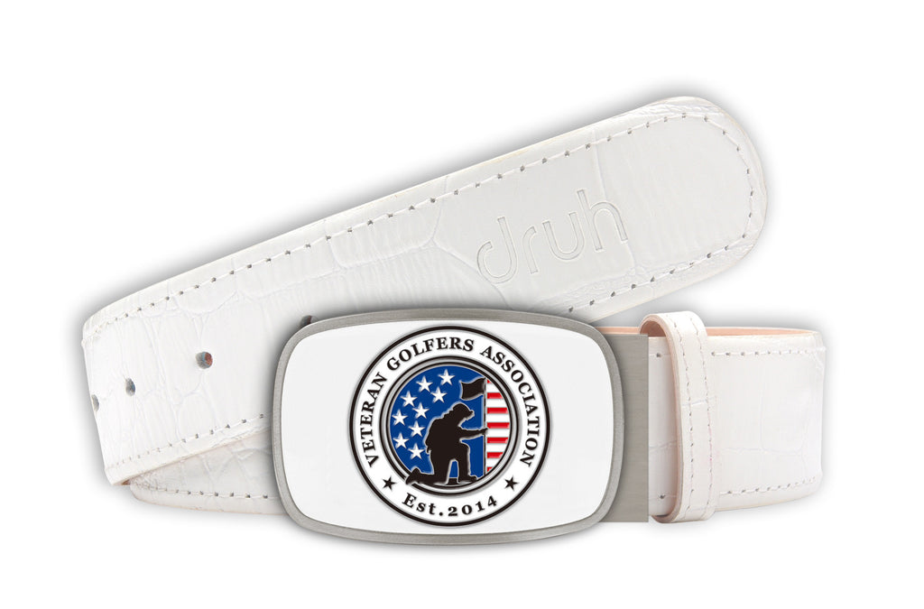 Veteran Golfers Association buckle with White Crocodile textured strap
