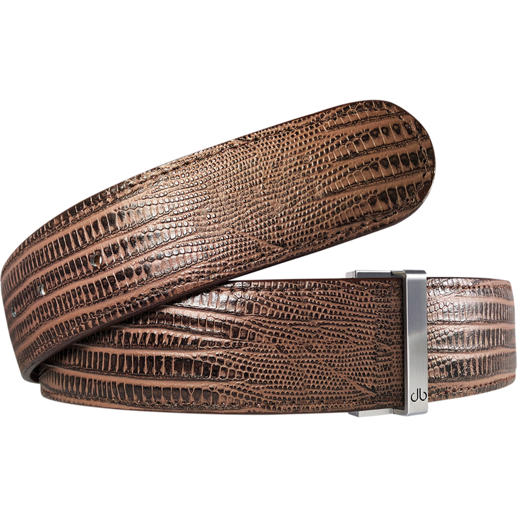 Brown Lizard Textured Leather Belt