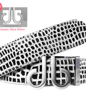 Silver DB Icon Buckle with Black and White Crocodile Patterned Leather Belt