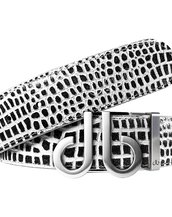 Black and White Crocodile Textured Leather Belt with Silver DB Icon Buckle