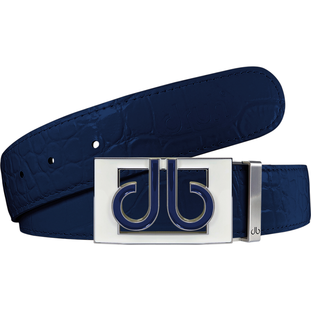 Navy Blue Crocodile Textured Leather Belt with Buckle