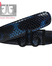 Blue & Black Shiny Snakeskin Texture Leather Belt with DB Icon Bucjle - Matte Black