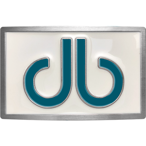 Double Infill Buckle White and Aqua