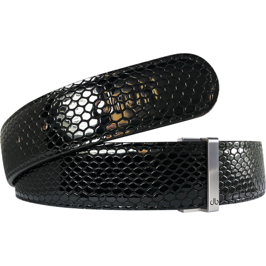 Black Shiny Snakeskin Patterned Leather Strap