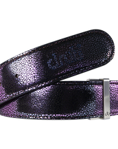 Shiny Purple Stingray Textured Leather Belt