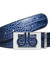 Blue Crocodile Textured Leather Belt with Colour Thru White and Blue Buckle