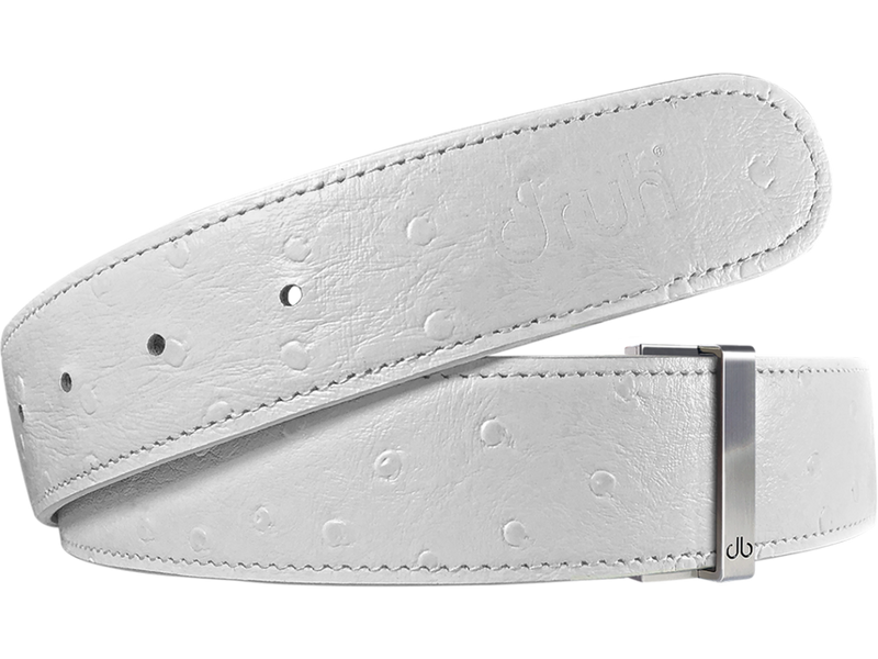 White Ostrich Texture Leather Belt