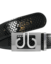 Silver Thru Classic Buckle with Black Snakeskin Patterned Leather Belt