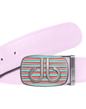 Pink Plain Leather Texture Belt with Pink & Aqua Striped Buckle