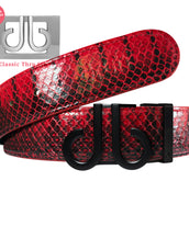 Red Snakeskin Textured Leather Belt with DB Icon Buckle - Matte Black