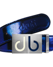 Blue Stingray Textured Leather Belt with Two Toned White & Blue Buckle