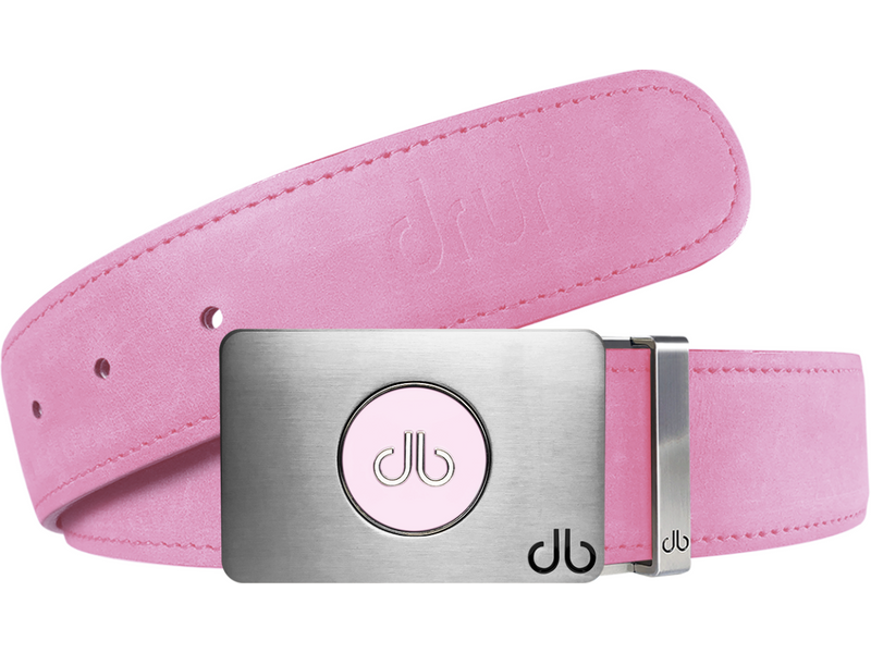 Pink Plain Leather Texture Belt with Pink Ballmarker Buckle