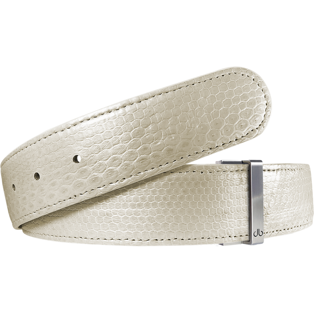 White Snakeskin Leather Belt