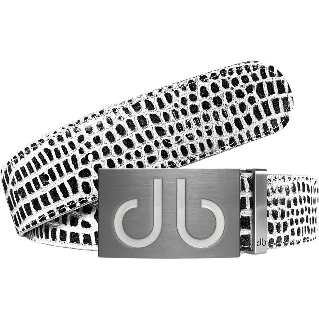 Black and White Crocodile Textured Leather Belt with White Infill Buckle