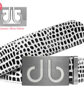 White Infill Buckle with Black and White Crocodile Patterned Leather Belt