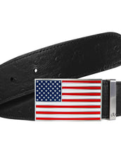 USA Flag Buckle with Black Ostrich Patterned Leather Belt