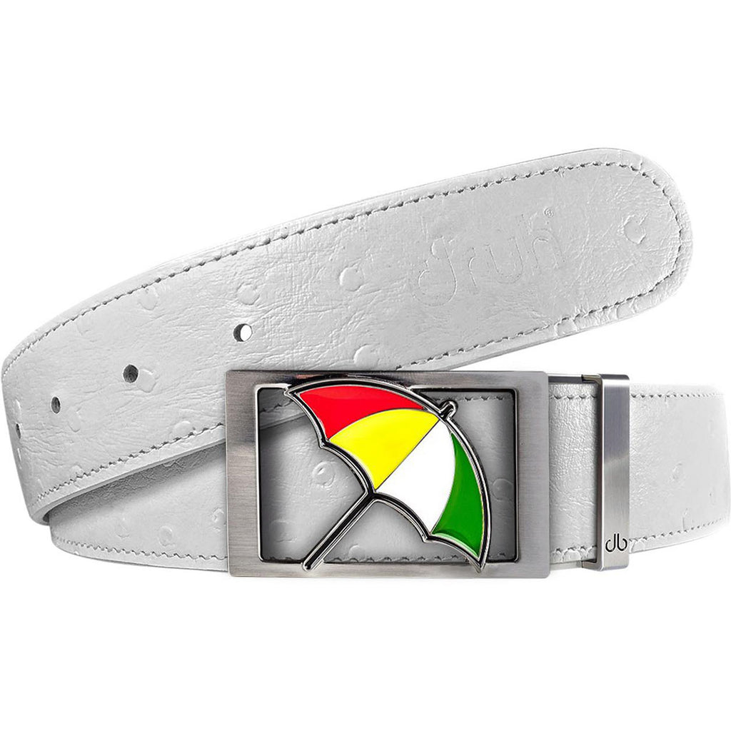 White Ostrich Textured Leather Strap with Arnold Palmer Buckle