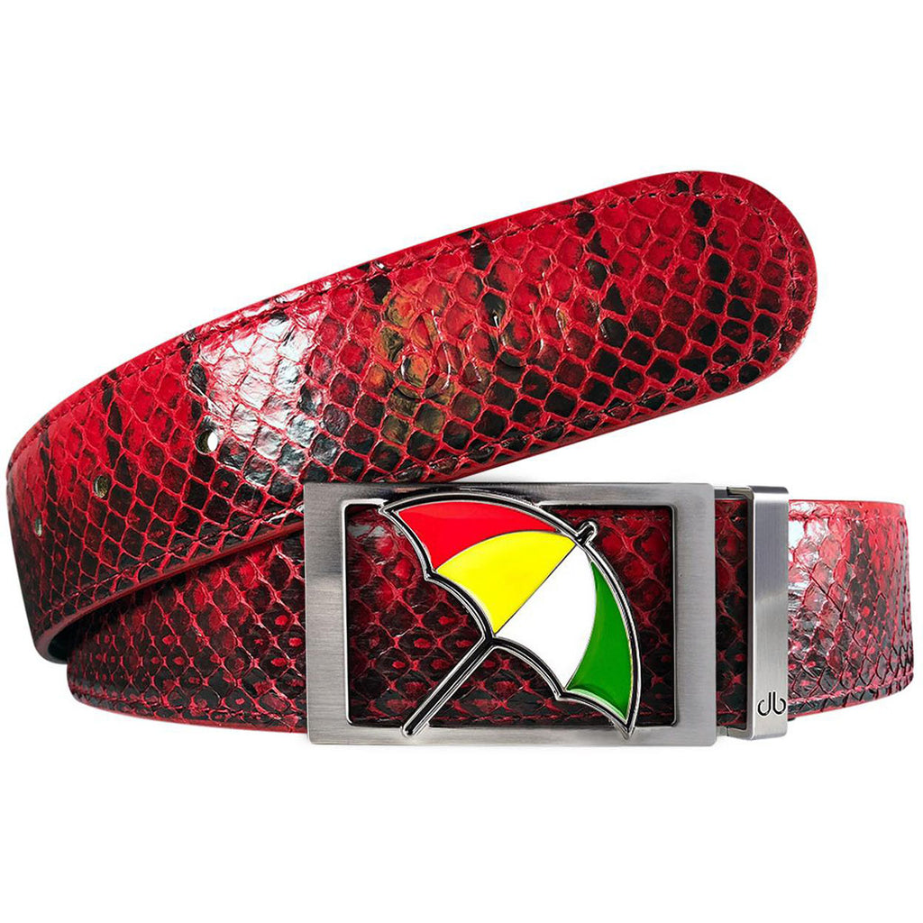 Red Snakeskin Leather Belt with Arnold Palmer Buckle