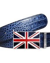 Blue Crocodile Textured Leather Belt with Union Jack Flag Buckle