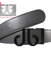 Grey Full Grain Texture Leather Belt with Matte DB Icon Buckle