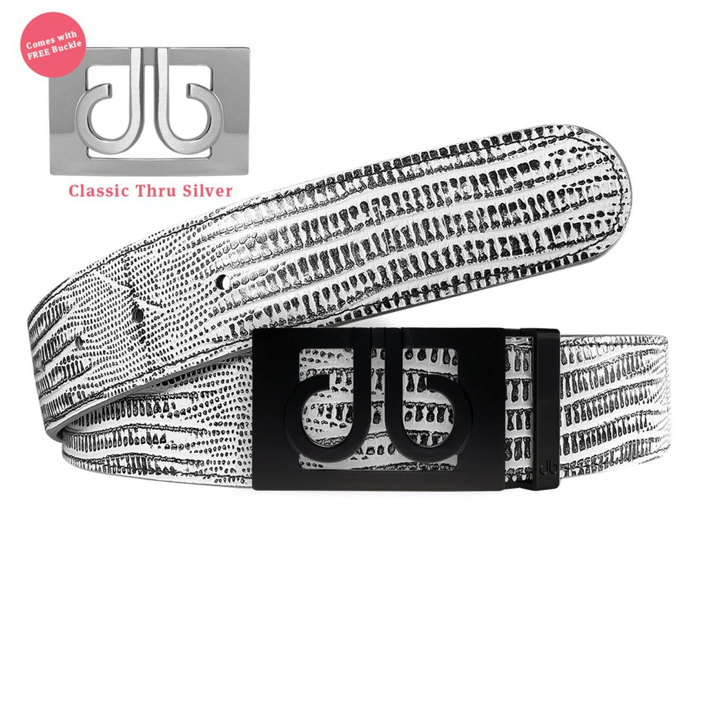Matte Black Thru Classic Buckle with Black and White Lizard Patterned Leather Belt