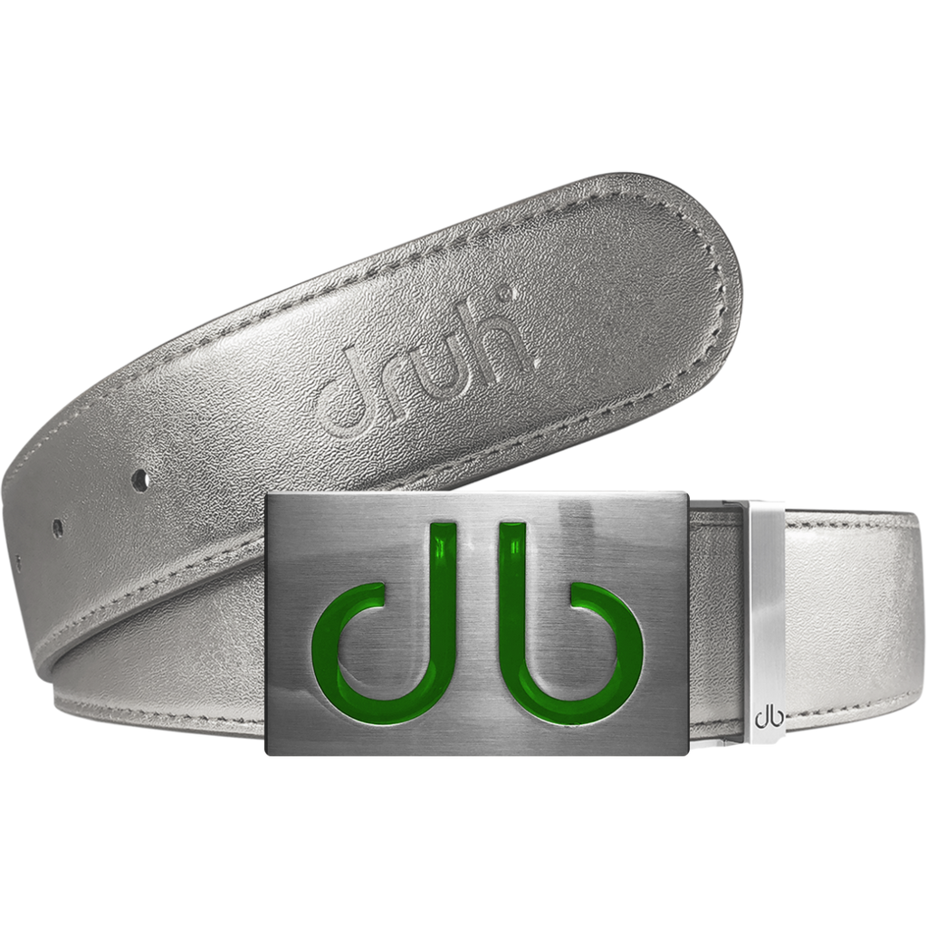 Silver Plain Leather Texture Belt with Green Infill Buckle
