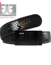 Shiny Black Snakeskin Patterned Leather Belt with Classic Thru Buckle - Matte Black
