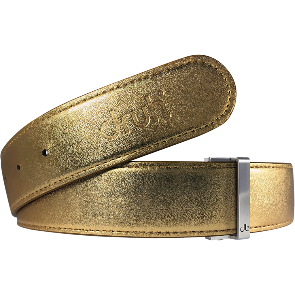 Gold Plain Textured Leather Belt