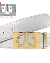 White Crocodile Textured Leather Belt with Gold Thru Classic Buckle