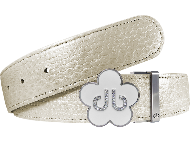 White Snakeskin Leather Belt with Flower Buckle