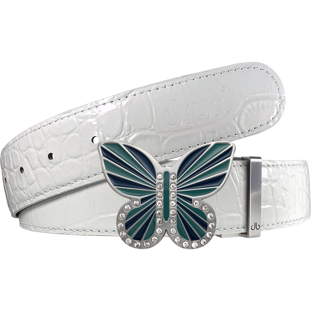 White Crocodile Textured Leather Belt with Butterfly Buckle