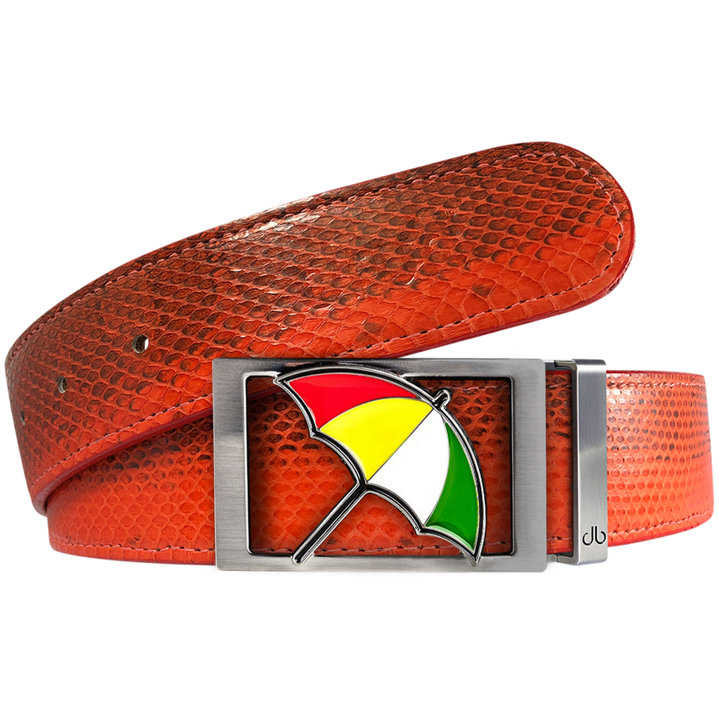 Arnold Palmer Snakeskin Leather Belt in Red