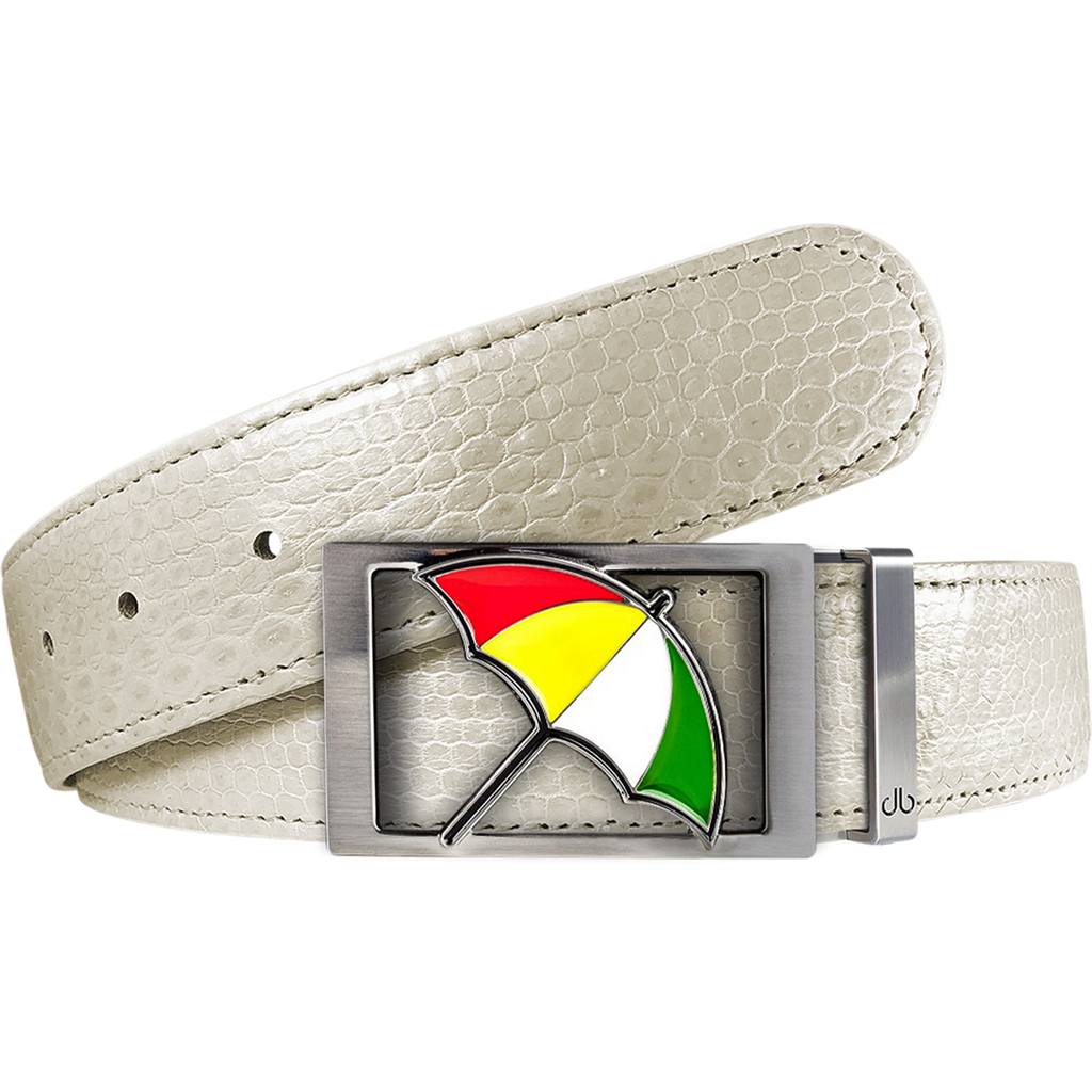 Arnold Palmer Snakeskin Leather Belt in White