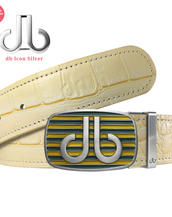 Aqua & Yellow Stripe Buckle with Cream Crocodile Patterned Leather Belt