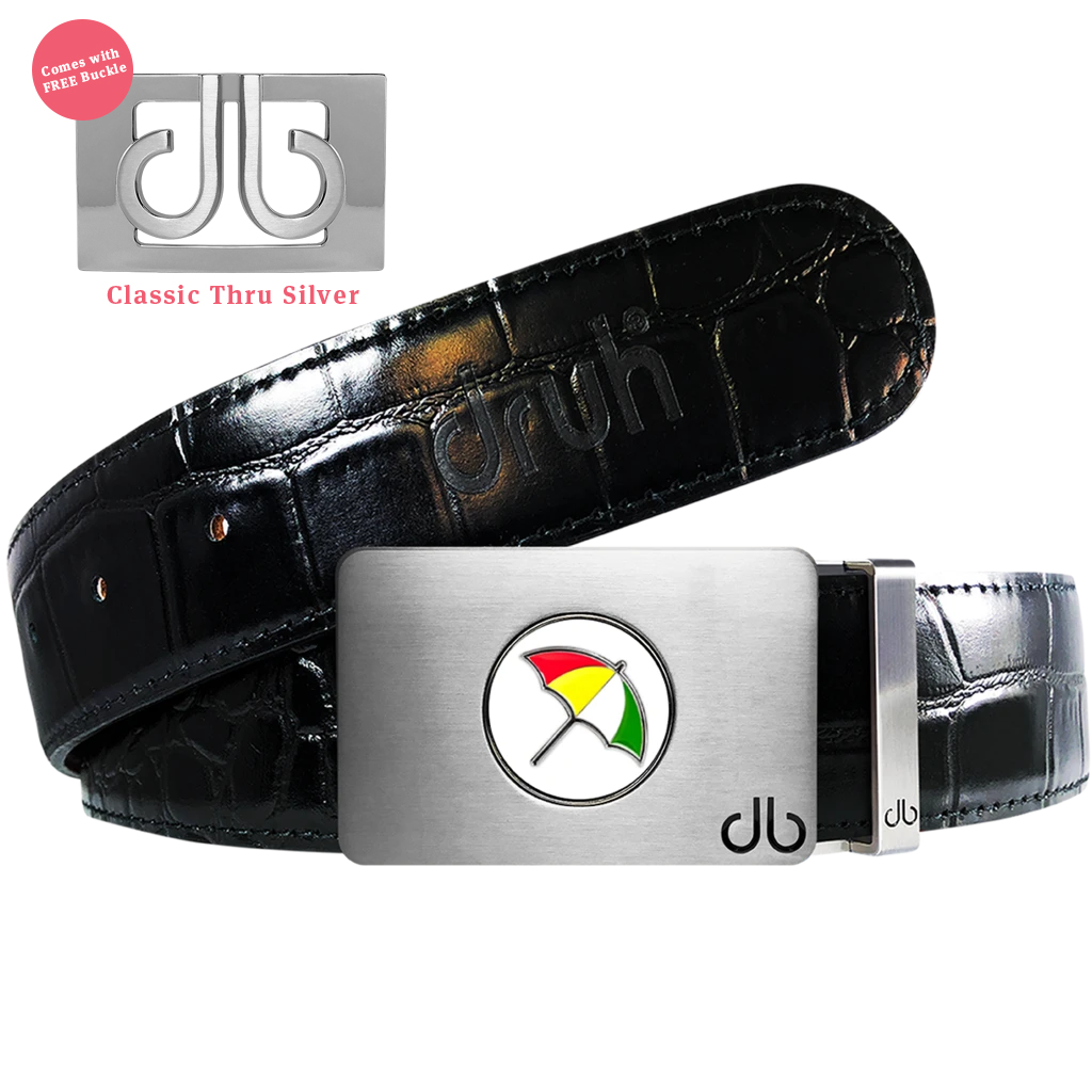 Arnold Palmer Ballmarker Buckle with Black Crocodile Patterned Leather Belt