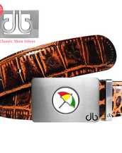 Arnold Palmer Ballmarker Buckle with Brown Crocodile Patterned Leather Belt