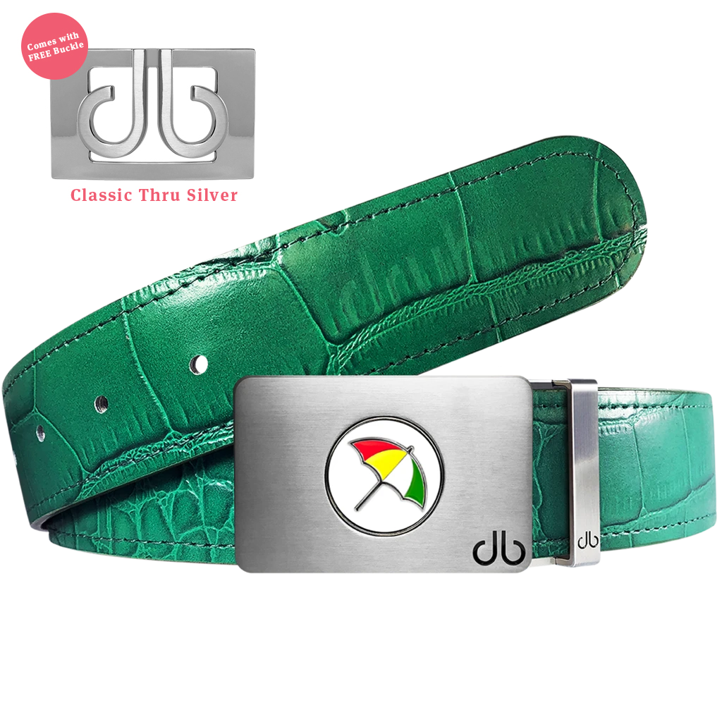 Arnold Palmer Ballmarker Buckle with Green Crocodile Patterned Leather Belt