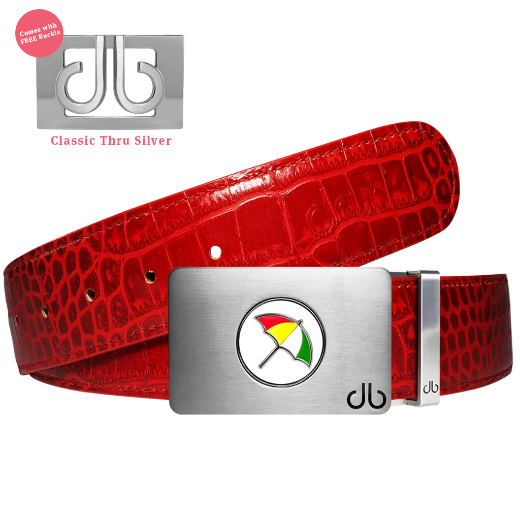Arnold Palmer Ballmarker Buckle with Red Crocodile Patterned Leather Belt