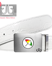 Arnold Palmer Ballmarker Buckle with White Crocodile Patterned Leather Belt