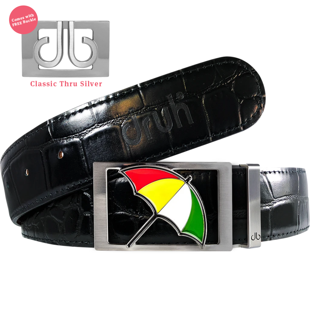 Arnold Palmer Umbrella Buckle with Black Crocodile Patterned Leather Belt
