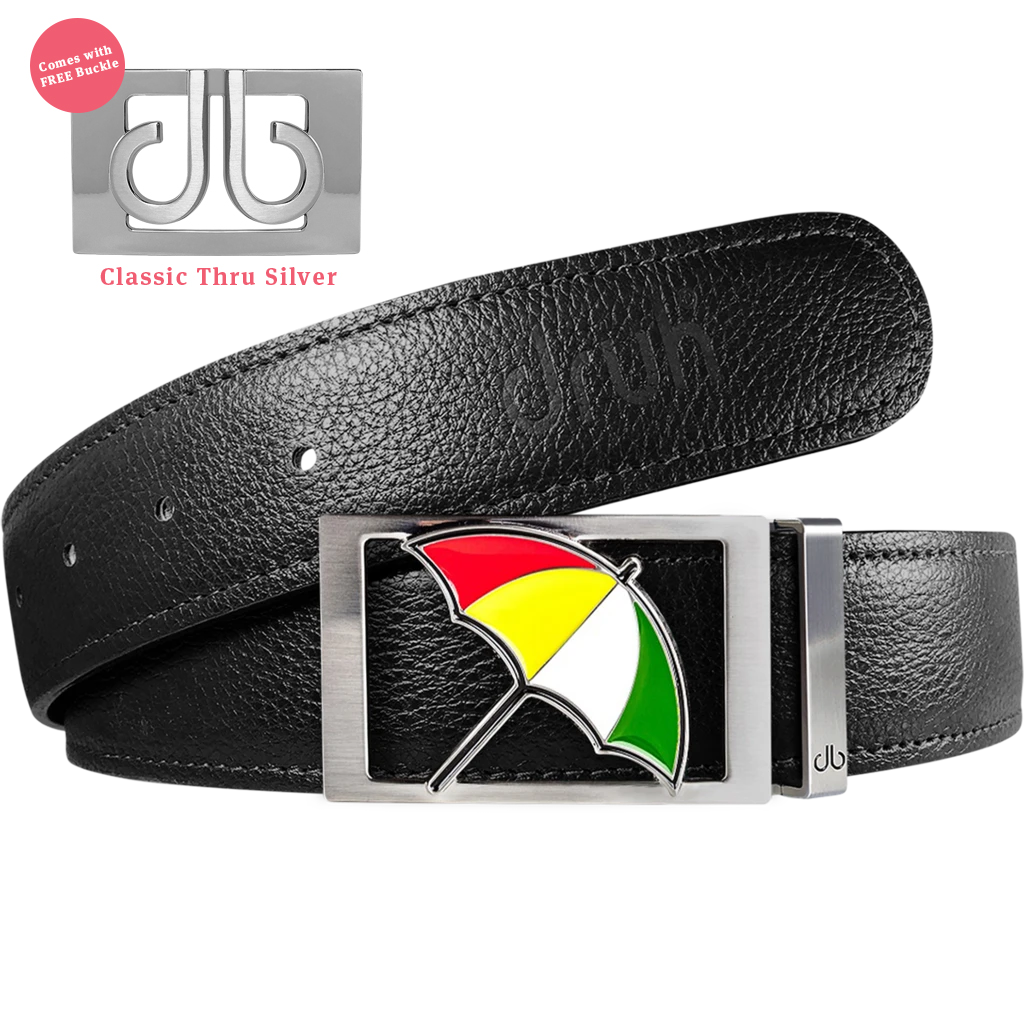 Black Full Grain Patterned Leather Belt with Arnold Palmer Umbrella Buckle