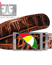 Arnold Palmer Umbrella Buckle with Brown Crocodile Patterned Leather Belt