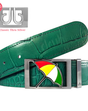 Arnold Palmer Umbrella Buckle with Green Crocodile Patterned Leather Belt