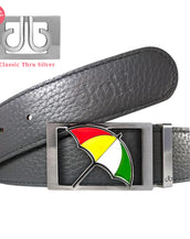 Arnold Palmer Umbrella Buckle with Grey Full Grain Patterned Leather Belt