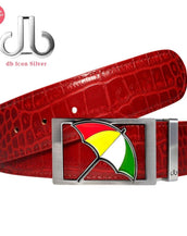 Arnold Palmer Umbrella Buckle with Red Crocodile Patterned Leather Belt