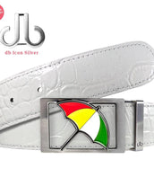 Arnold Palmer Umbrella Buckle with White Crocodile Patterned Leather Belt