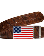 American Flag Buckle with Brown Belly Crocodile Patterned Belt
