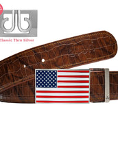 Brown Belly Crcodile Patterned Belt With American Flat Buckle