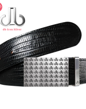 Black db Repeat Buckle with Black Lizard Patterned Leather Belt