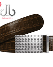 Black DB Repeat Buckle with Dark Brown Crocodile Patterned Leather Belt